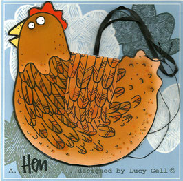 Pop-Up 3D Hanging Brown Hen / Chicken Bird Greeting Card