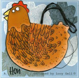 Pop-Up 3D Hanging Brown Hen / Chicken Bird Greeting Card
