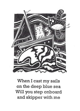 'When I Cast My Sails' Pocket Puss Print