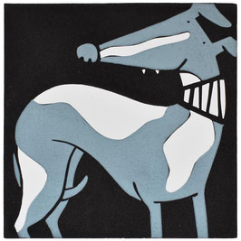 'Standing Proud' Grey and White Whippet Linocut Print