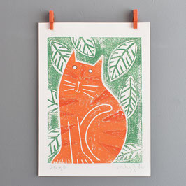 'Ginge' Original Cat Monoprint