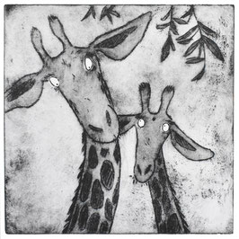 'Life's To Short' Giraffe Acid Plate Etching Print