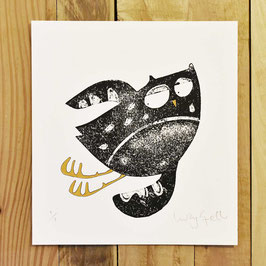 'In Flight Owl 1' Original Monoprint