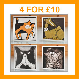 '4 Card Assorted Multipack' Blank Inside 2D Greeting Cards