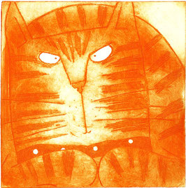 'Ginger' Cat Etching Print