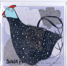 Pop-Up 3D Hanging Guinea Fowl Bird Greeting Card