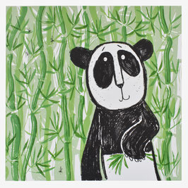 'Bamboo Panda' Panda Bear Screen Print