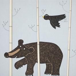'Walking Bear' Black Bear Screen Print