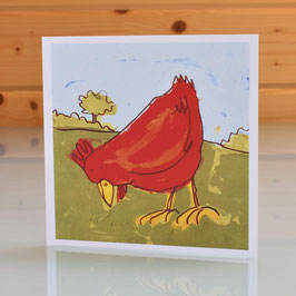 'Pecking Hen' Chicken Blank Inside Greeting Card