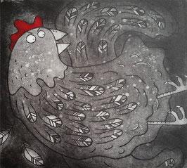'Squawk' Chicken / Hen Etching Print (Seconds)