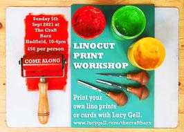 Linocut Printmaking Workshop Sun 5th Sept 2021