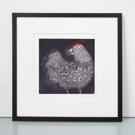 'Cluck' Chicken / Hen Etching Print