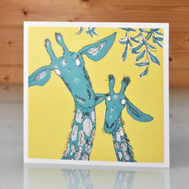 'Life's Too Short' Mother and Baby Giraffe Greeting Card