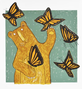 'Flutterbear' Bear and Butterfly Screen Print