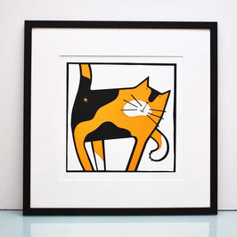 'Cat Scratch' Tortoiseshell Cat Screenprint