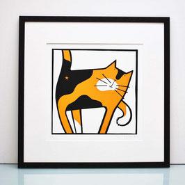 'Cat Scratch' Tortoiseshell Cat Screenprint