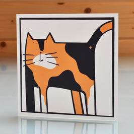 'Naughty Tortie' Cat Blank Inside Greeting Card