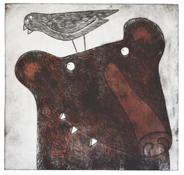 'To Bear It All' Brown Bear and Bird Etching Print
