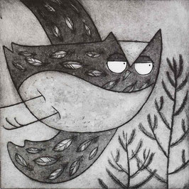 'Above The Pines' Owl In Pine Forest Etching Print (Seconds)
