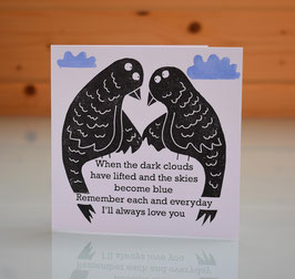 'When The Dark Clouds Have Lifted' I Love You / Valentine Handprinted Card
