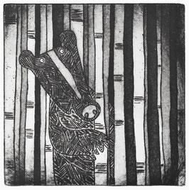 'Hey Bear' Black Bear Etching Print