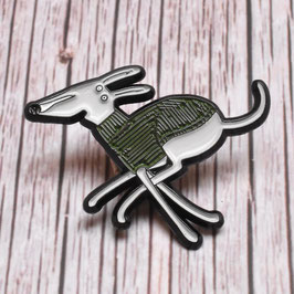 '35 mph Couch Potato' dog enamel pin badge