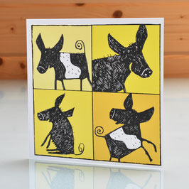 'Black and Saddleback Pigs' Blank Inside Greeting Card