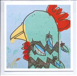 'Hen Looking Left' Chicken Blank Inside Greeting Card