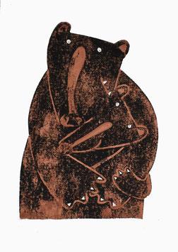 'Bear Hug' Original Monoprint