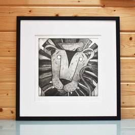 'Lion and Bird' Etching Print