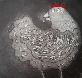 'Cluck' Chicken / Hen Etching Print