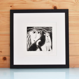 'Woman and Cat' Drypoint Etching Print