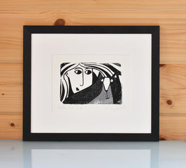 'Hello Mr Tom' Black and White Tom Cat Gocco print.