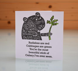 'Radishes Are Red' I Love You / Valentine Card
