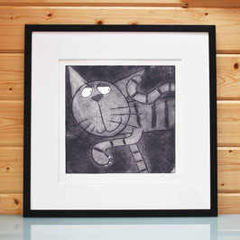 'On The Prowl' Cat Etching Art Print
