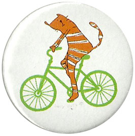 Cat On A Bike Badge