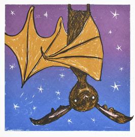 'Just Hanging Around' Halloween Bat Wall Art Screen Print