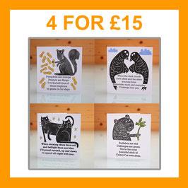 '4 Card Assorted Multipack' Blank Inside Handprinted Love / Valentine Cards