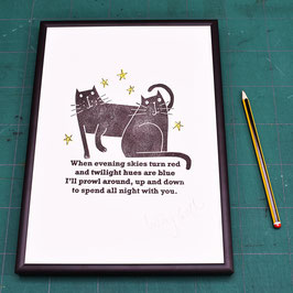 'When Evening Skies' Black Cat Original Linocut Print