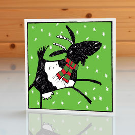 'Jolly Goat' Christmas Greeting Card