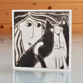 'Woman and Cat' Blank Inside Greeting Card