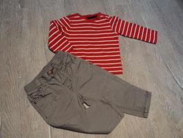 2788 Set selbst zusammen gestellt LA Shirt rot weiß gestreift von BABY CLUB Hose grau von H&M Gr. 74
