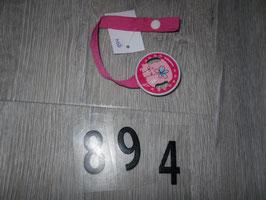 894 Schnullerkette pink mit Blumen