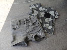 V-76 Sommer Set - Shirt grau mit Elefanten und passender kurzen grauen Jeans Shorts von BABY CLUB JOG DENIM Gr. 62