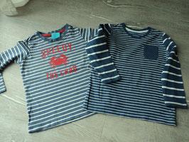 Y-6 Set La Shirt dunkelblau/weiß-hellblau/weiß gestreift mit Speedy the Crab von KIDS BY TCHIBO Gr. 98/104