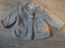 3135 Mantel in grau mit Kuschelteddyfell, Druckknöpfe und Schleifen von H&M Gr. 74