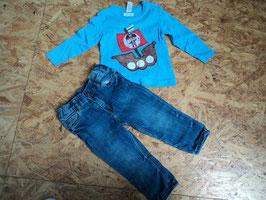 AL-13 Tolles zusammengestelltes Set LA Shirt hellblau mit Pirate -Jeans blau Slim von H&M beides Gr. 80