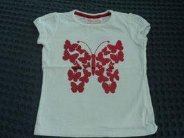F-124 Shirt weiß mit metallic roten Schmetterlingen von YOUNG DIMENSION Gr. 74