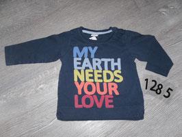 1285 LA Shirt  mit Aufschrift dunkelblau von H&M Gr. 74
