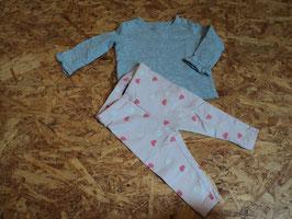 SR-161 Set LA Shirt in grau mit Rüschen an den Ärmeln und passender Leggings in rosa mit Herzchen Gr, 62/68